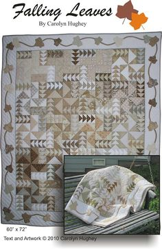 This item is unavailable Monochromatic Quilt, Neutral Quilt, Quilting Projects, Sewing Projects, Cat Quilt Patterns, Flying Geese Quilt, Foundation Piecing, Applique Templates, Falling Leaves