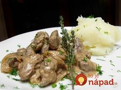 Beef liver with onion, apple & horseradish in sour cream Liver Recipes, Beef Liver, Sour Cream, Onion, Seafood, Dishes, Meat, Chicken, Kitchen