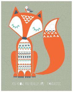Fantastic Mr Fox Illustration 8x10 Print by helenrobin on Etsy: