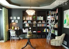 before and after -- a dining room into a library. what an amazing transformation! love this space. the black walls are beautiful.