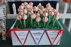 baseball wedding cake pops - baseball themed wedding reception