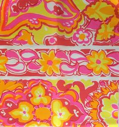 3 Vintage Key West Hand Print Fabrics, Inc. bright floral monogram sorority fabric squares by LuLuBunnyHome on Etsy