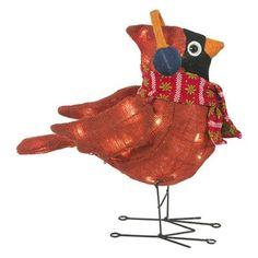 Holiday Living 17-in 35-Light Burlap Cardinal Outdoor Christmas Decoration