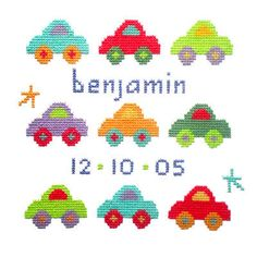 Birth - Baby Boy - Car  Sampler Cross Stitch