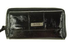 This contemporary wallet features a handy credit card compartment underneath the flap on the front for easy access to your credit cards. The zip around compartment holds more credit cards, has a zippered coin pocket and is roomy enough to hold a checkbook, cash, receipts, etc. This is the only clutch wallet you will need this year!
