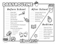 Color this in with your little ones and get in the routine for November! Daily Routine Schedule, Do Homework, Clean Shoes, Activity Sheets, How To Make Bed, After School, Primary School, Face Wash, Some Fun