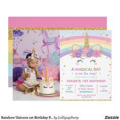 1st Birthday Invitations Boy, Unicorn Themed Birthday Party, Unicorn Invitations, Photo Invitations, 1st Birthday Girls, 1st Birthday Parties, Unicorn Party, Birthday Ideas, Invitations Kids