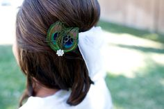 Jasmine++Peacock+Feather+Hair+Clip+by+PlumeDelight+on+Etsy,+$18.00