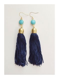"""4"""" Navy tassels + turquoise stone by LouCJewelry on Etsy"""
