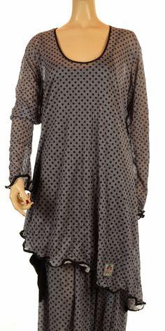 Ya Qu'a Grey & Anthracite Dot Long Sleeve Asymmetric Hem Tunic-Ya Qu'a, lagenlook, womens plus size UK
