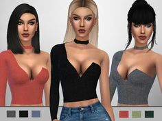 "xpuresim: "" Choker Top A one shoulder choker top for your simmies. • 6 colors •…"
