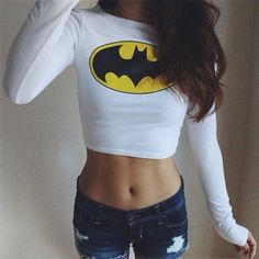 Sexy Women Batman Long Sleeve Crop Top T-Shirt