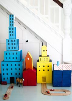 Recycled Box Town with interchangeable parts, from Paper Goods Projects