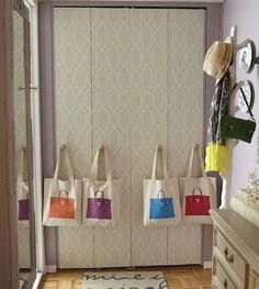 Wallpapered or stenciled closet doors