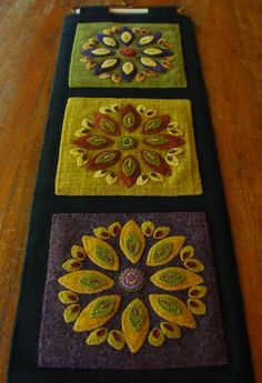 Hand dyed wool applique Americana wall hanging redware quilt block primitive felted fulled mill dyed penny rug embroidery quilt block by priscilla Wool Applique Quilts, Wool Applique Patterns, Wool Quilts, Wool Embroidery, Felt Applique, Wool Fabric, Felted Wool Crafts, Felt Crafts, Fabric Crafts