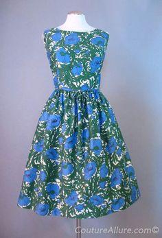 1960s cotton full skirt dress.