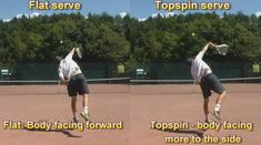 The difference in body rotation when serving flat or top spin serves