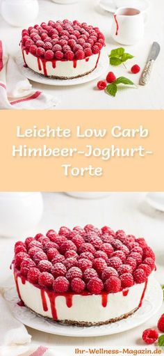 Rezept für eine leichte Low Carb Himbeer-Joghurt-Torte: Die kalorienarme Joghurt-Torte mit Himbeeren wird ohne Zucker und Getreidemehl gebacken. Sie ist kohlenhydratarm ...