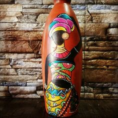 Pots Painted Glass Bottles, Glass Bottle Crafts, Wine Bottle Art, Glass Painting Designs, Pottery Painting Designs, Clay Art Projects, Fairy Jars, Art N Craft, Bottle Painting