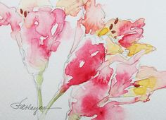 Watercolor Painting of Pink Alstroemeria Original ACEO by RoseAnn Hayes, available in Etsy shop.
