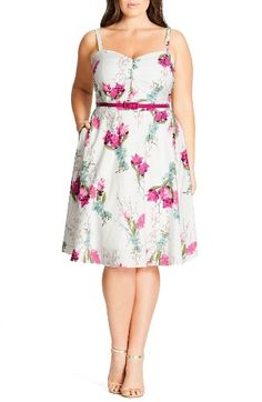 Free shipping and returns on City Chic 'Open Rose' Belted Floral Fit & Flare Dress (Plus Size) at Nordstrom.com. A lush floral print blooms across a pretty dress designed to flirt and flatter with a ruched sweetheart bodice and fitted waistband over a full, twirling skirt. Adjustable shoulder straps and stretchy smocking at the back perfect the fit.