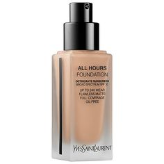 YVES SAINT LAURENT All Hours Full Coverage Matte Foundation: A new 24-Hour, full-coverage foundation that instantly blurs pores and fines lines and provides uninterrupted flawless wear that looks and feels just applied, all-day. #AntiPollution