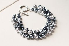 Grey Silver Wedding Jewelry Pearl Cluster Bracelet by skyejuice, $22.00