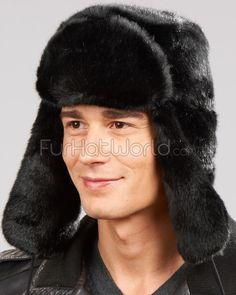Black Faux Fur Russian Ushanka Hat for Men 91afa667a1a4