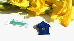 Wooden Birdhouse Brooch available in blue and by BoughtoBeauty