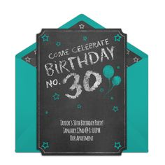 Stylish chalkboard 30th birthday party online invitation you can personalize and send via email. Fun to pair with a chalkboard birthday decorations and games!