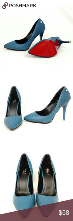 M&22 2018 blue high heel pump size 7 Beautiful brand new blue pumps, red sole size 37 M & 22 2018 Shoes Heels