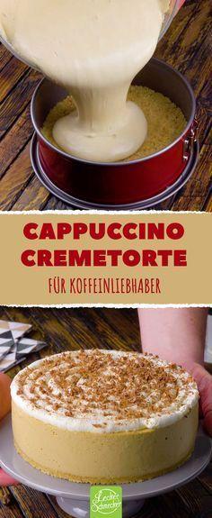 Cappuccino fernab der Tasse als cremige Torte mit Keksboden - Da schlägt das Herz höher! #leckerschmecker #rezept #backen #süß #torte #kuchen #kaffee #espresso #koffein #cappuccino #kaffeespezialitäten #sahne #sahnig #ohne backen #no bake #creme #mascarpone #italien #italienisch #tasse #sündigen #naschen #spirale #wirbel #lecker