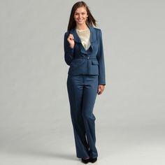 Anne Klein Women's Twilight Ruffle Pant Suit | Overstock.com