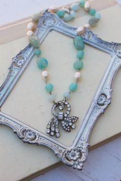 Vintage Rhinestone Pearl and Gemstone Necklace~!