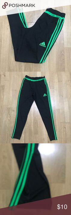 Adidas Climacool Sweatpants Great condition with zippers on both legs shown in picture 3. These are awesome with one flaw that can easy be sewn. The waist is cut on both sides, see picture 6. The price reflects that one flaw. The green is bright neon. adidas Pants Track Pants & Joggers