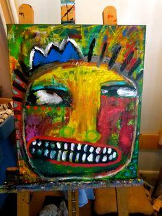 """Paranoid King Head"" an original mixed media-Tracey Ann Finley #outsiderart www.traceyannfinley.com"