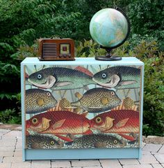 media cabinet makeover with decoupage, decoupage, painted furniture, repurposing upcycling