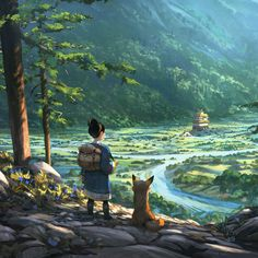 Out of the forest, Quentin Regnes on ArtStation at… Fantasy Landscape, Landscape Art, Bg Design, Felder, Environment Concept Art, Anime Scenery, Environmental Art, Fantasy Artwork, Conte