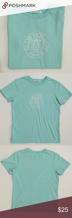 [Club Monaco] women's short sleeved tshirt XS-S [Club Monaco] women's short sleeved tshirt XS-S •🆕listing •good pre-owned condition •light blue with white screen logo (some cracking when looking closely) •material and size tag removed, may fit XS-S, feels like cotton blend tshirt •offers welcomed using the offer feature or bundle/bundle offer welcomed• Club Monaco Tops Tees - Short Sleeve