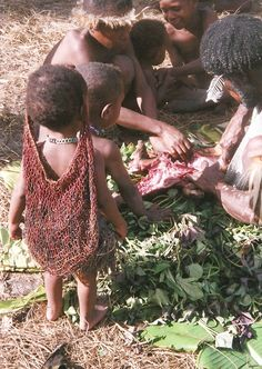 Irian Jaya or West Papua Indonesia  I purchased a pig for a Dani Village. This is a little girl wearing her Bilum bag  Photo by Elisa Kotin
