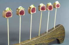 Lollipops can be sweet or savory like the seared tuna version with togarashi, avocado mousse, arare, and micro shiso from Paramount Catering and Events.  Photo: Courtesy of Paramount Catering and Events