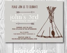 teepee indian tent pow wow arrow arrows | boy birthday party invitation | old west | 150