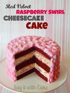 Red velvet raspberry swirl cheesecake cake – say it with cake Red Velvet Cheesecake Cake, Raspberry Swirl Cheesecake, Velvet Cake, Cupcakes, Cupcake Cakes, Food Cakes, Vegetarian Cake, Piece Of Cakes, Cheesecake Recipes