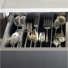 Custom stainless steel utensil drawer inserts. See more like this from Bradco on Modenus