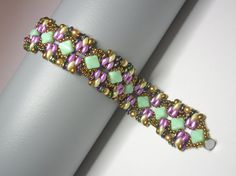 Tutorial  Pistachio bracelet  Silky and O Czech beads by zviagil