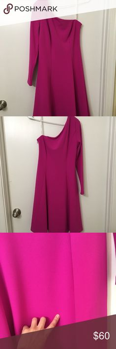 Calvin Klein one sleeve dress Gorgeous, one sleeve Calvin Klein dress. Brand new dress (but no tag). Size 6. Last picture shows a very small defect and second to last shows where the defect is which it can barely be seen. It seems as if a piece of thread is missing. Very open to offers. 94% polyester and 6% spandex. Color is hot pink. Calvin Klein Dresses One Shoulder
