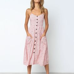 Women's Sexy Summer Midi Dresses Boho Backless Sleeveless Button Striped Dot Solid Midi Dress Slip Sundress With Pockets Robe - $14.39 – $19.99
