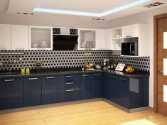 Znalezione obrazy dla zapytania navy gloss kitchen