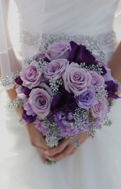 Purple, Lavender and Silver - Bridal Bouquet
