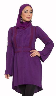 Abida Long Purple Islamic Tunic Dress with Lace | Islamic Clothing for Women | Islamic Clothing at Artizara.com